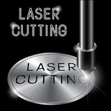 un'illustrazione che consiste di un'immagine di un ugello di taglio del laser e del ` di taglio del laser del ` di parole Fotografia Stock