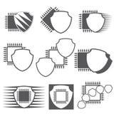 Un'illustrazione che consiste di nove simboli illustrazione vettoriale
