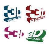 un'illustrazione che consiste di quattro immagini differenti del ` del ` 3D del testo Immagine Stock