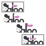 un'illustrazione che consiste di quattro immagini differenti della testa femminile e del ` del salone di capelli del ` dell'iscri royalty illustrazione gratis