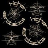 Un'illustrazione che consiste di quattro immagini sotto forma di aeroplano di sport illustrazione vettoriale