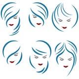 Un'illustrazione che consiste di sei immagini delle teste femminili illustrazione vettoriale