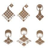 Un'illustrazione che consiste di sei immagini di produzione del cioccolato Fotografia Stock