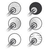 un'illustrazione che consiste di sei immagini differenti delle meduse in un cerchio Fotografia Stock
