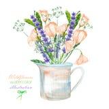 Un'illustrazione con un mazzo di bei wildflowers, dell'eustoma e della lavanda fiorisce in un barattolo rustico illustrazione vettoriale