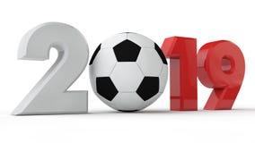 un'illustrazione 3D 2019 della data, pallone da calcio, era di calcio, anno di sport rappresentazione 3d L'idea per il calendario illustrazione di stock