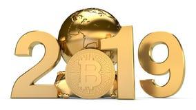un'illustrazione 3D di 2019 ed il pianeta Terra dorato con le monete di cryptocurrency del bitcoin L'idea per il calendario, un s illustrazione di stock