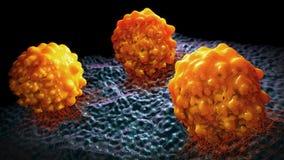 un'illustrazione 3d di tre cellule tumorali arancioni Immagine Stock