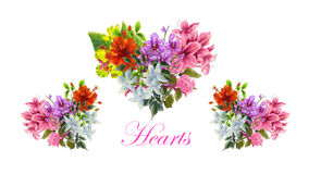 Un'illustrazione dei mazzi di forma del cuore Immagini Stock Libere da Diritti