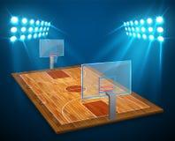 Un'illustrazione del campo dell'arena di pallacanestro di prospettiva del legno duro con le luci luminose dello stadio progetta V illustrazione vettoriale