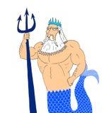 Un'illustrazione del dio Nettuno per i Romani e il Poseidon del Greco Illustrazione di Stock