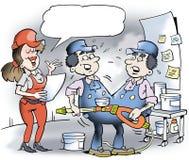 Un'illustrazione del fumetto di un meccanico di due gemelli siamesi Fotografia Stock Libera da Diritti