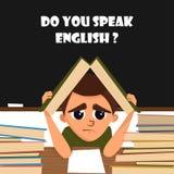 Un'illustrazione del fumetto di uno studente della scuola nella classe inglese Vettore royalty illustrazione gratis
