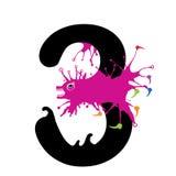 Un'illustrazione del numero tre con il mostro Numeri di progettazione fissati Fotografie Stock