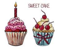 Un'illustrazione dell'acquerello di due pancake dolci Fotografie Stock Libere da Diritti