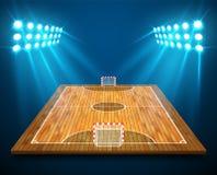 Un'illustrazione della corte di Futsal di prospettiva del legno duro o il campo con le luci luminose dello stadio progetta Vettor royalty illustrazione gratis