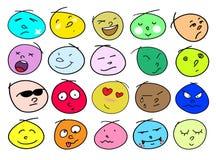 Un'illustrazione delle icone differenti del viso umano di variazioni Immagini Stock