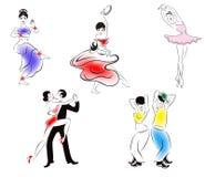 Un'illustrazione di cinque stili di ballo Immagine Stock