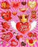 Un'illustrazione di cuore, di amore, della corona e dell'orsacchiotto come un fondo o carta da parati Fotografia Stock