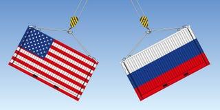 Un'illustrazione di due contenitori prima dell'impatto, simbolo della guerra commerciale fra gli Stati Uniti e la Russia illustrazione vettoriale