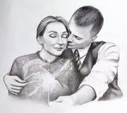 Un'illustrazione di due genti abbraccianti nell'amore royalty illustrazione gratis