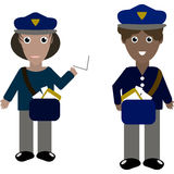 Un'illustrazione di due lavoratori dell'ufficio postale Fotografia Stock Libera da Diritti