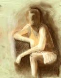 un'illustrazione di gesto dell'uomo dentro sul documento di struttura Immagine Stock