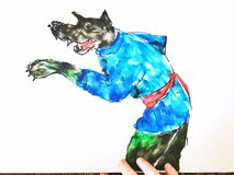 Un'illustrazione di un lupo leggiadramente, resa ad argilla molle illustrazione vettoriale