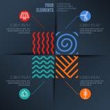 Un'illustrazione di quattro elementi ed ambientale, icone di ecologia Fotografia Stock Libera da Diritti