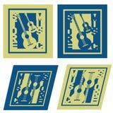 Un'illustrazione di quattro immagini del logo del deposito di musica Fotografia Stock