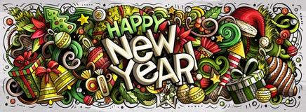 un'illustrazione di 2019 scarabocchi Progettazione degli oggetti e degli elementi del nuovo anno fotografie stock libere da diritti