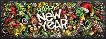 un'illustrazione di 2019 scarabocchi Progettazione degli oggetti e degli elementi del nuovo anno immagine stock