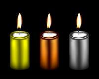Un'illustrazione di tre candele decorative di colore metallico Fotografie Stock Libere da Diritti