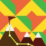 Un'illustrazione di tre montagne variopinte con la traccia e della cima bianca di Snowy con la bandiera su un picco Priorità bass illustrazione di stock