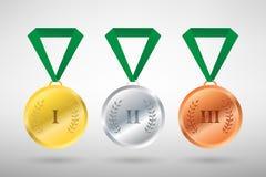 Un'illustrazione di tre vincitori mette in mostra le medaglie di stile Fotografia Stock Libera da Diritti