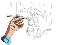 Un'illustrazione di un disegno della mano di una ragazza Fotografia Stock