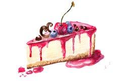 Un'illustrazione di un pezzo di torta di formaggio Immagini Stock Libere da Diritti