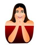 Un'illustrazione di una ragazza con gli occhi verdi ed il fronte della sorpresa Illustrazione di Stock