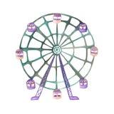 Un'illustrazione di una ruota panoramica dipinta in acquerello su un fondo bianco Fotografie Stock Libere da Diritti