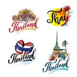 Un'illustrazione di vettore degli elementi disegnati a mano per il viaggio in Tailandia, viaggio di concetto in Tailandia Insieme Fotografie Stock Libere da Diritti