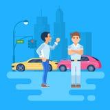 Un'illustrazione di vettore di una discussione di due uomini Immagine Stock Libera da Diritti