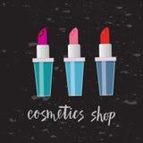 Un'illustrazione di vettore di tre rossetti Con il negozio dei cosmetici del testo Progettazione piana illustrazione di stock