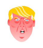 Un'illustrazione divertente di un presidente arrabbiato degli Stati Uniti d'America, Donald Trump Illustrazione Vettoriale