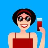 Un'illustrazione piacevole di una giovane donna che beve qualcosa Illustrazione Vettoriale