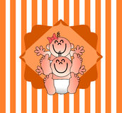 Un'illustrazione piacevole per un invito della doccia di bambino Illustrazione Vettoriale