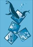 Un'illustrazione sottratta dalle balene nel loro ambiente Fotografia Stock Libera da Diritti