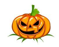 Un'illustrazione spaventosa ma divertente di una zucca di Halloween Illustrazione Vettoriale