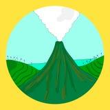 Disegno rotondo del vulcano Immagine Stock Libera da Diritti