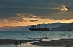 Un'imbarcazione di carico nel golfo di Eilat Immagini Stock Libere da Diritti