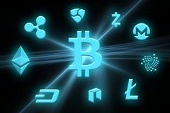 Un'immagine con un segno del bitcoin Immagine Stock